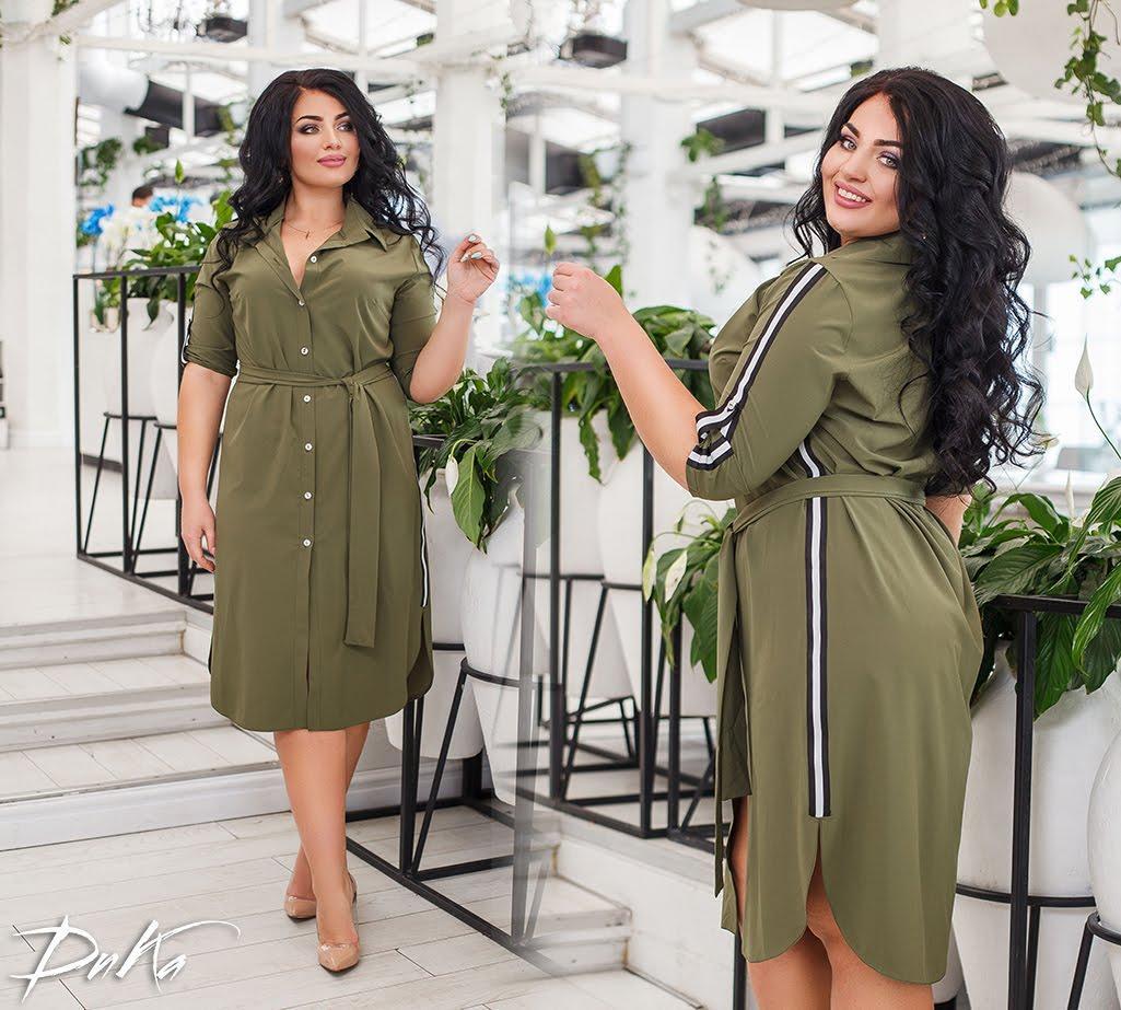 Платье -рубашка С ПОЯСОМ  46-48.50-52.54-56  Цвет- хаки. серый. черный