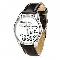 """Часы """"Late white"""" (ремешок насыщенно - черный, серебро) + дополнительный ремешок (4606053)"""