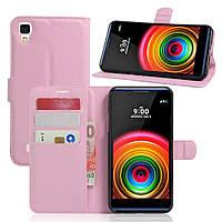 Чехол-книжка Litchie Wallet для LG X Power K220DS Светло-розовый
