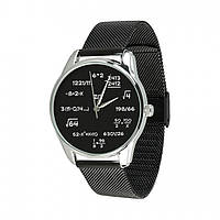 """Часы """"Математика"""" (ремешок из нержавеющей стали черный) + дополнительный ремешок (5001089)"""