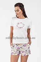 Жіноча Піжама з шортами та футболкою ELLEN Макаронси 190/001