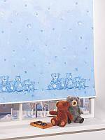 Ролеты тканевые на окна, жалюзи, рулонная штора Тедди 4099 голубой, 40*160 см