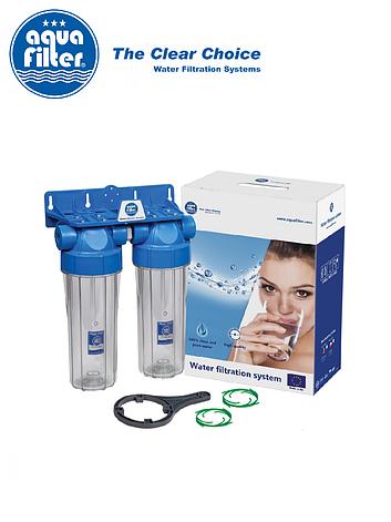 """Подвійна система корпусів фільтр для холодної води 10"""" AquaFilter FHPLCL14-D-TWIN 1/4"""", фото 2"""