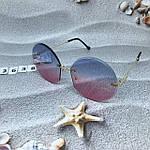 Круглые солнцезащитные очки   розово - голубые, фото 5