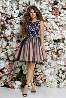 Выпускное короткое платье  BabyDoll, синий