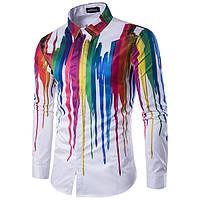 cd898c7c94b61e7 Красочные мужские персонализированный чернила 3d печать отложной воротник с длинными  рукавами моды случайные рубашку 1TopShop