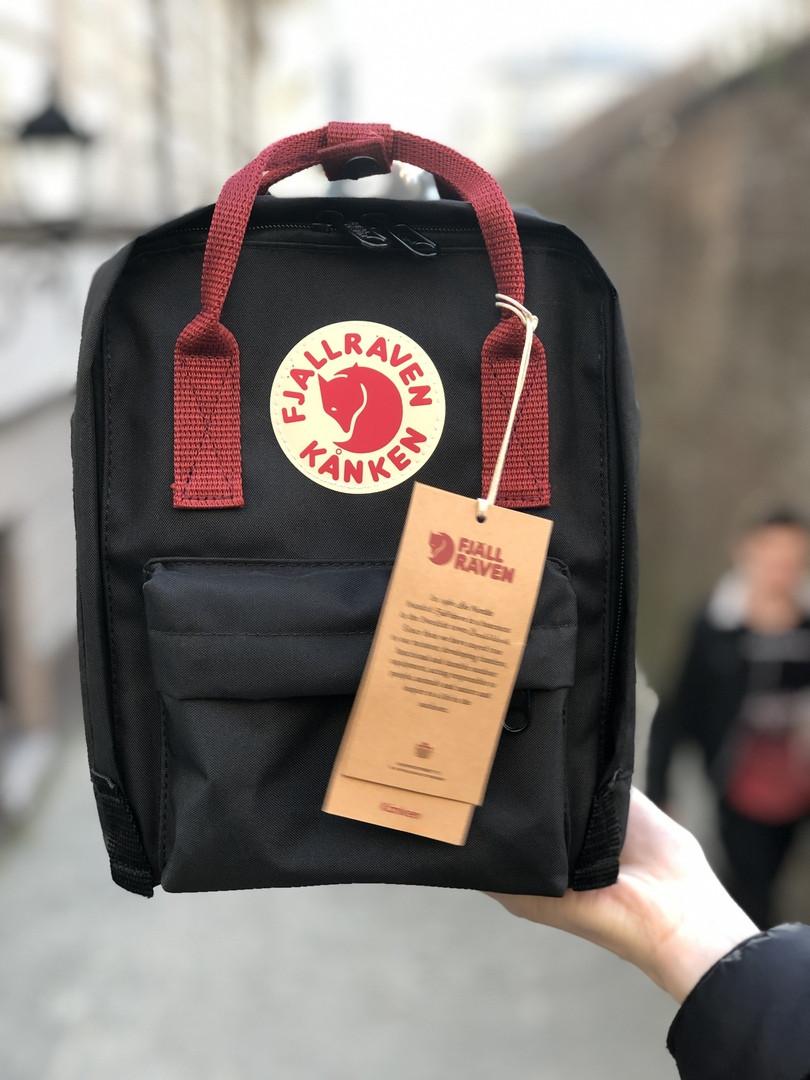 Рюкзак Fjallraven Kanken mini (full black), рюкзак Канкен мини, черный портфель канкен