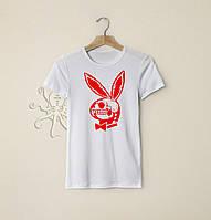 Мужская белая футболка, чоловіча футболка Playboy, Реплика