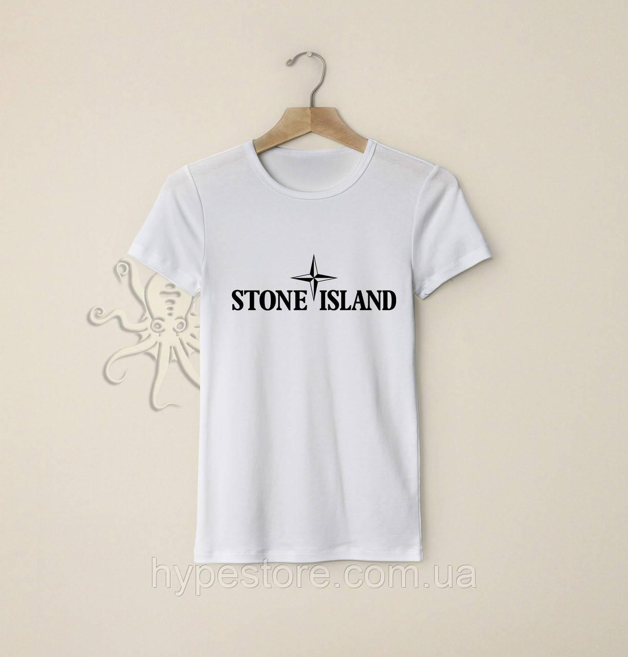 Мужская белая футболка, чоловіча футболка Stone Island (черный лого), Реплика