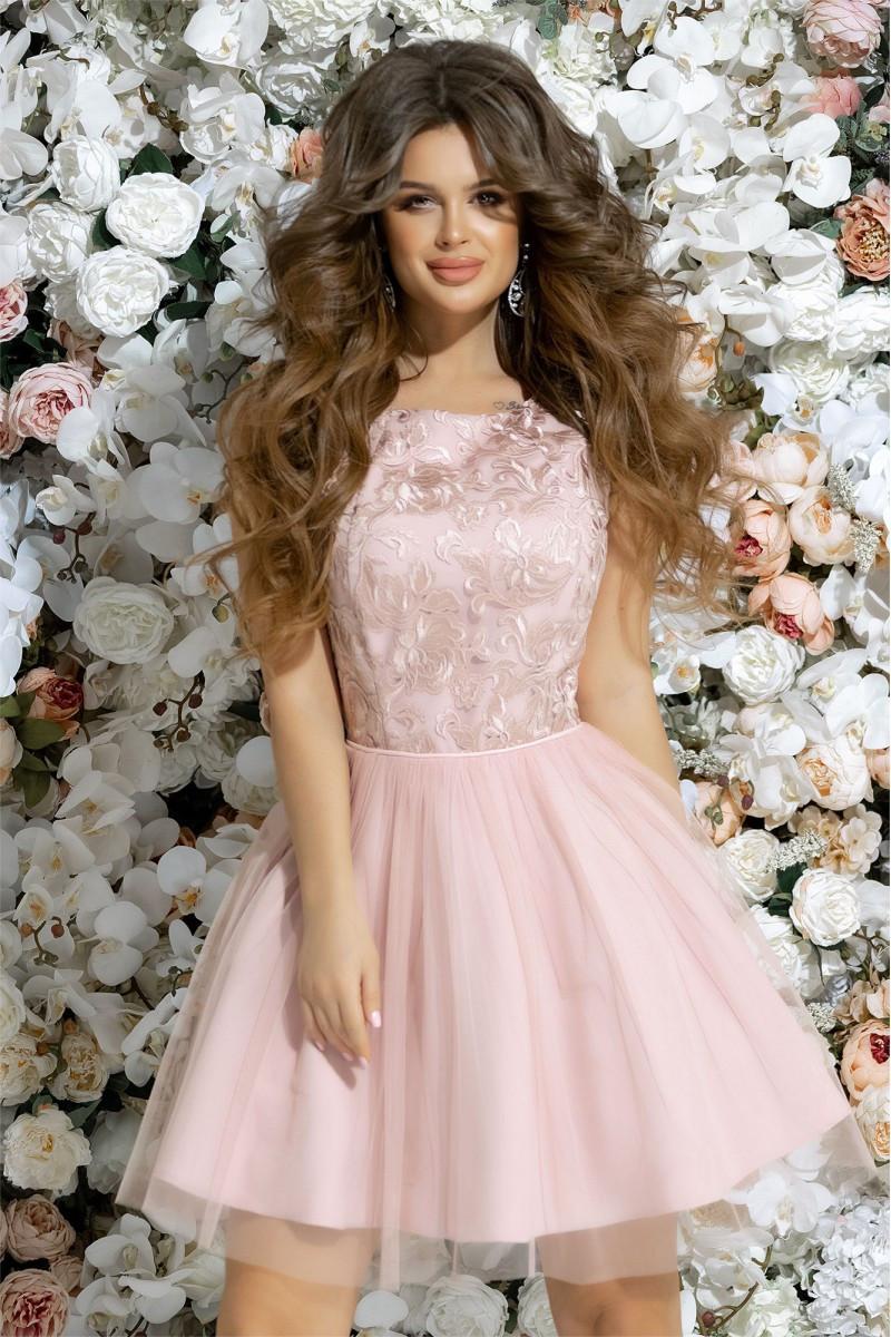 698ee59db6af787 Выпускное короткое платье BabyDoll, розовый цвет - AnnaskoStyle стильная  женская одежда от современных дизайнеров в