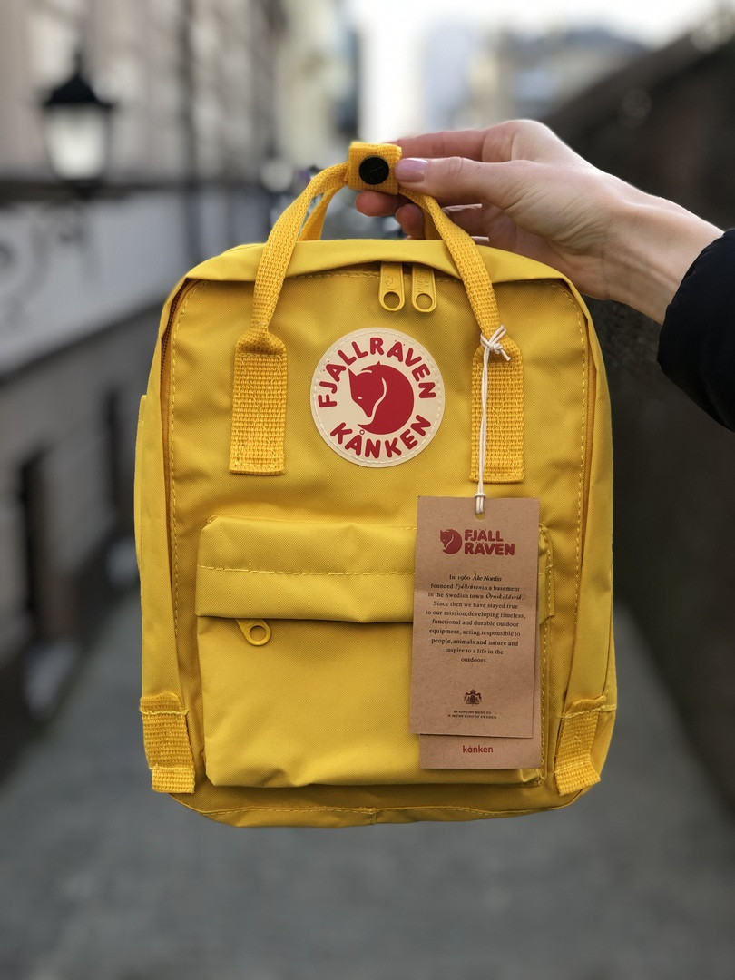 Рюкзак Fjallraven Kanken mini (yellow), рюкзак Канкен мини, желтый портфель канкен
