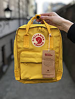 Рюкзак Fjallraven Kanken mini (yellow), рюкзак Канкен мини, желтый портфель канкен, фото 1