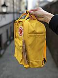 Рюкзак Fjallraven Kanken mini (yellow), рюкзак Канкен мини, желтый портфель канкен, фото 3