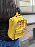 Рюкзак Fjallraven Kanken mini (yellow), рюкзак Канкен мини, желтый портфель канкен, фото 2