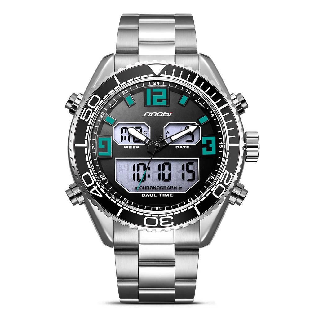 SINOBI 9731 Dual Дисплей Цифровые часы Мужские хронографы светящиеся Дисплей Часы Мода На открытом воздухе Часы - 1TopShop
