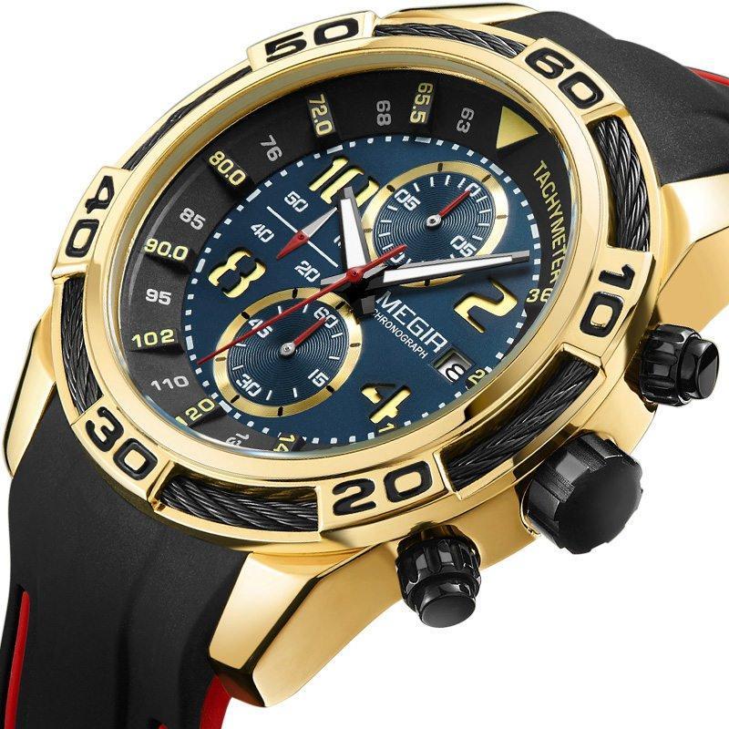 MEGIR2045СпортивныечасыВоенныйХронограф Силиконовый Ремень мужские Кварцевые часы - 1TopShop