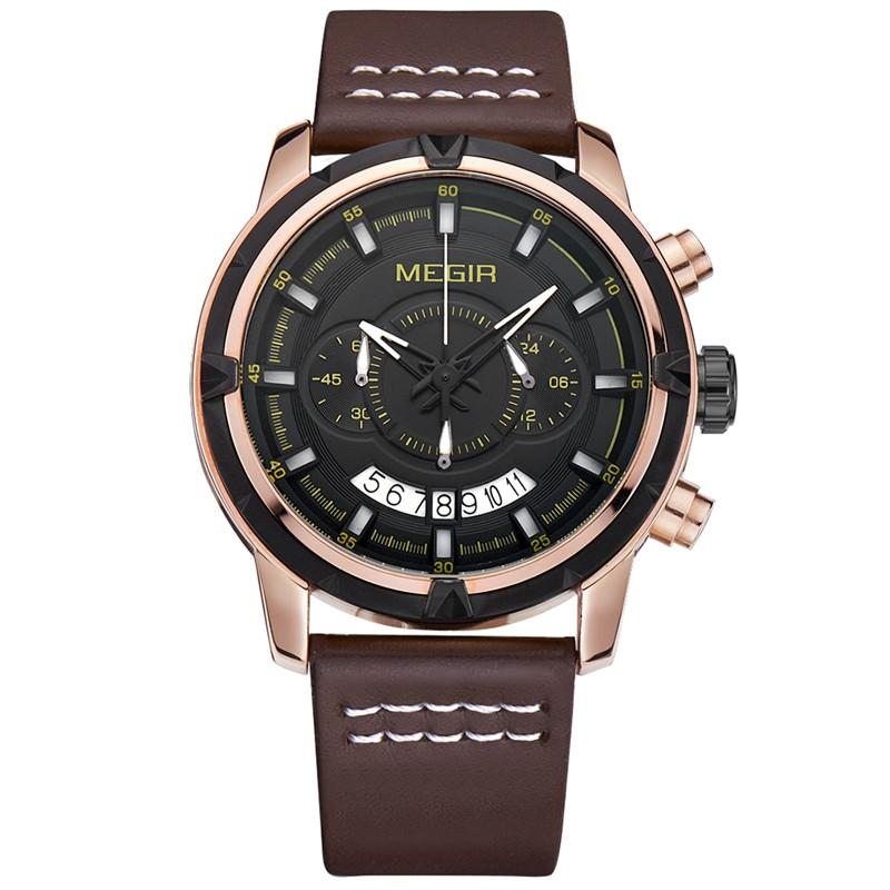 MEGIR 2047 Мужской многофункциональный хронограф светящиеся моды случайные мужчины Кварцевые часы - 1TopShop