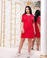 Платье женское короткое из двунитки с отделкой (К27154), фото 1