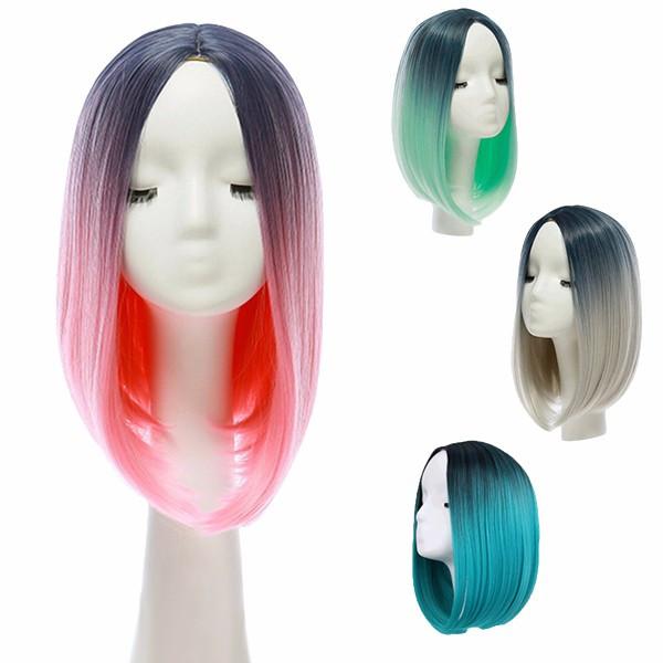 14 Термостойкое Синтетический градиент цвета Дешевые парик волос Ombre Средние Длинные прямые шелковые кружева - 1TopShop