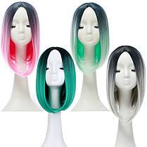 14 Термостойкое Синтетический градиент цвета Дешевые парик волос Ombre Средние Длинные прямые шелковые кружева - 1TopShop, фото 2