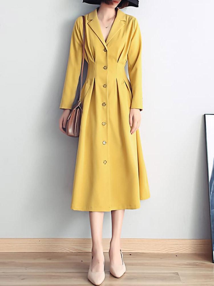 Женская мода Pure Color Aline Платье V Шея Пуговица с надрезом и воротником Платье - 1TopShop