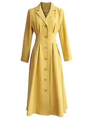 Женская мода Pure Color Aline Платье V Шея Пуговица с надрезом и воротником Платье - 1TopShop, фото 2