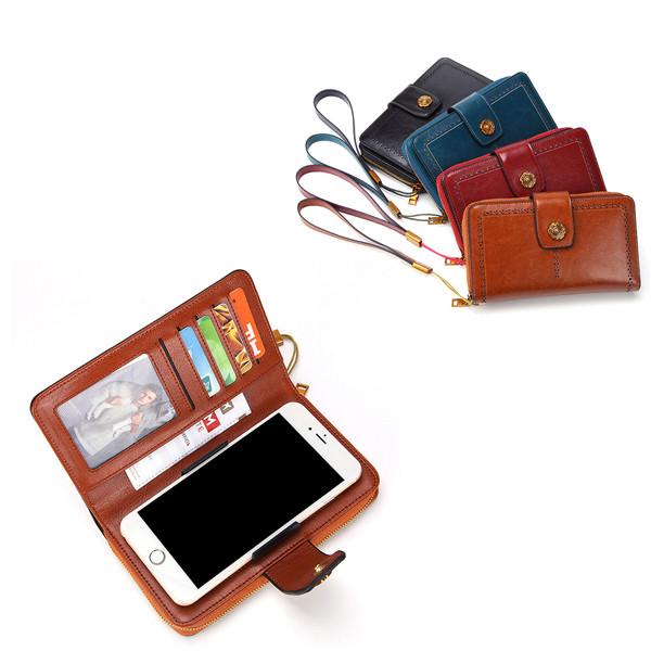 ЖенскоеМаслоWaxНатуральнаяКожа4.7 / 5.5 дюймов Телефон Сумка 7 Коробка для карт памяти Многофункциональная Сумки - 1TopShop
