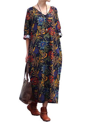 Женское Свободная хлопковая лента Ретро-печать 3/4 Рукав Платье - 1TopShop, фото 2