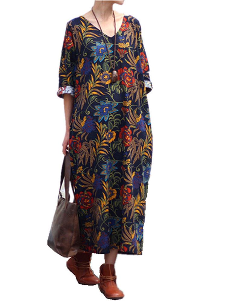 Женское Свободная хлопковая лента Ретро-печать 3/4 Рукав Платье - 1TopShop