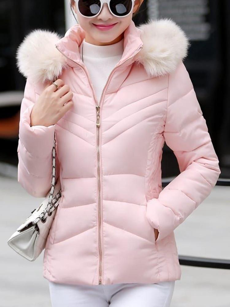 Женское Повседневный сплошной цвет с капюшоном Тонкий Пальто с длинными рукавами осень зима пуховики - 1TopShop