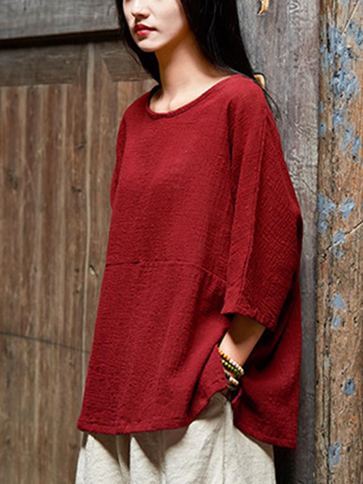 Женское Винтаж Половина рукавов Хлопок льняная блузка - 1TopShop