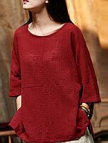 Женское Винтаж Половина рукавов Хлопок льняная блузка - 1TopShop, фото 2