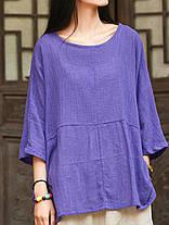 Женское Винтаж Половина рукавов Хлопок льняная блузка - 1TopShop, фото 3