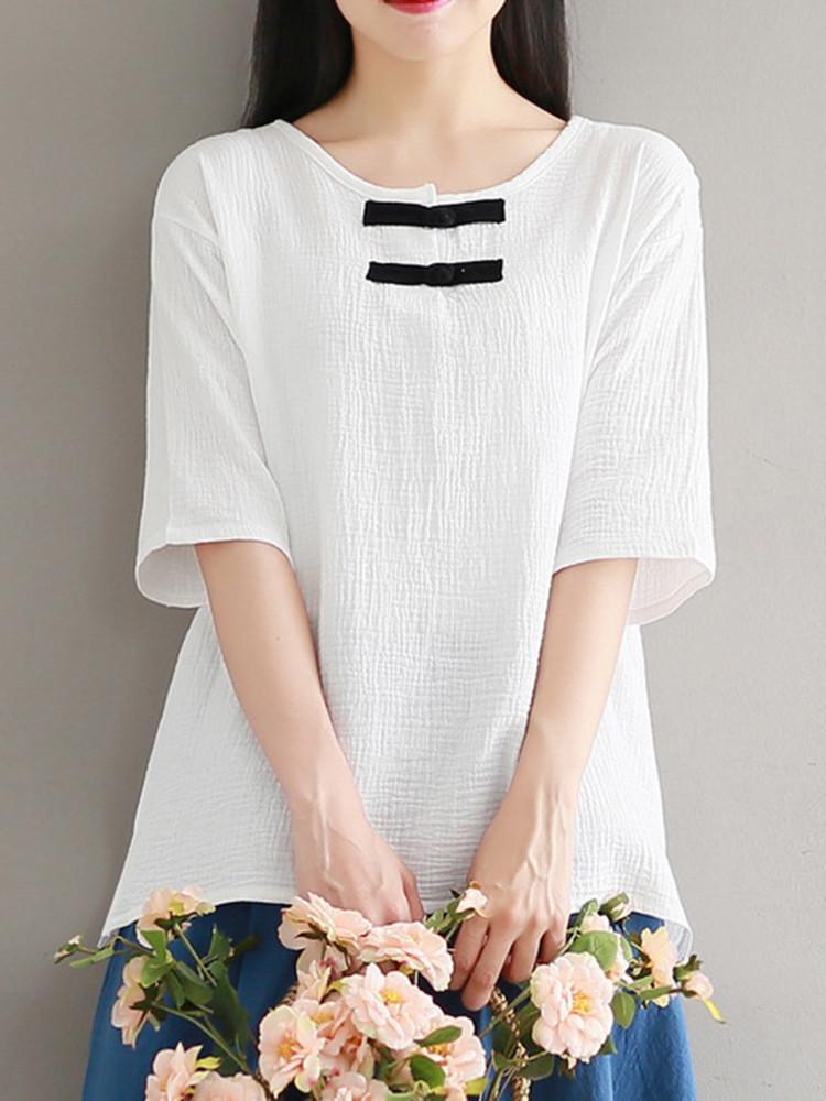 Китайский стиль Женское O-образным вырезом лягушка кнопки хлопок блузка - 1TopShop