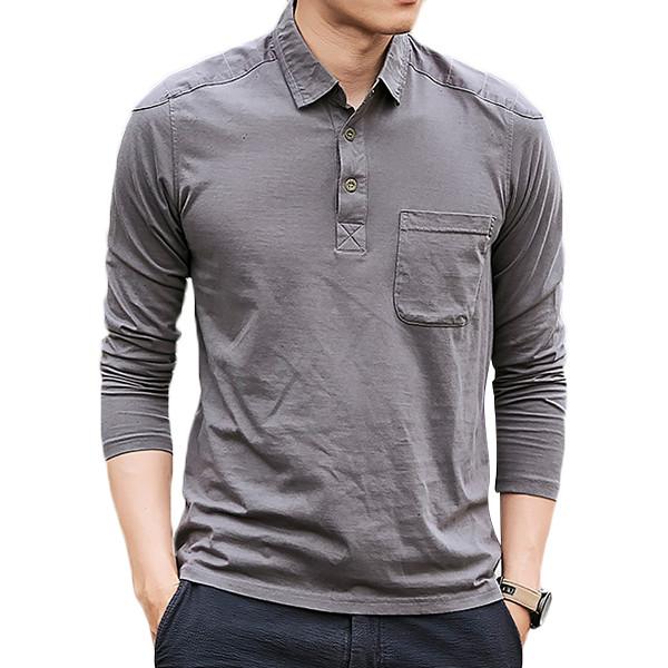 Мужская хлопок промывается POLO Рубашка Мода Lapel Loose с длинным рукавом футболки - 1TopShop