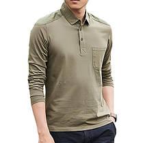 Мужская хлопок промывается POLO Рубашка Мода Lapel Loose с длинным рукавом футболки - 1TopShop, фото 3