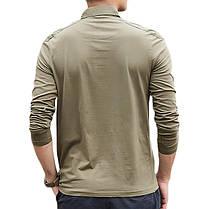 Мужская хлопок промывается POLO Рубашка Мода Lapel Loose с длинным рукавом футболки - 1TopShop, фото 2