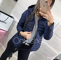 Женская стеганная короткая куртка на молнии с капюшоном