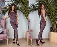 Женский костюм из люрекса топ+лосины №0023\ бордо, фото 1