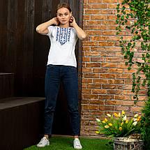 Женская футболка вышиванка Цветы синие, фото 3
