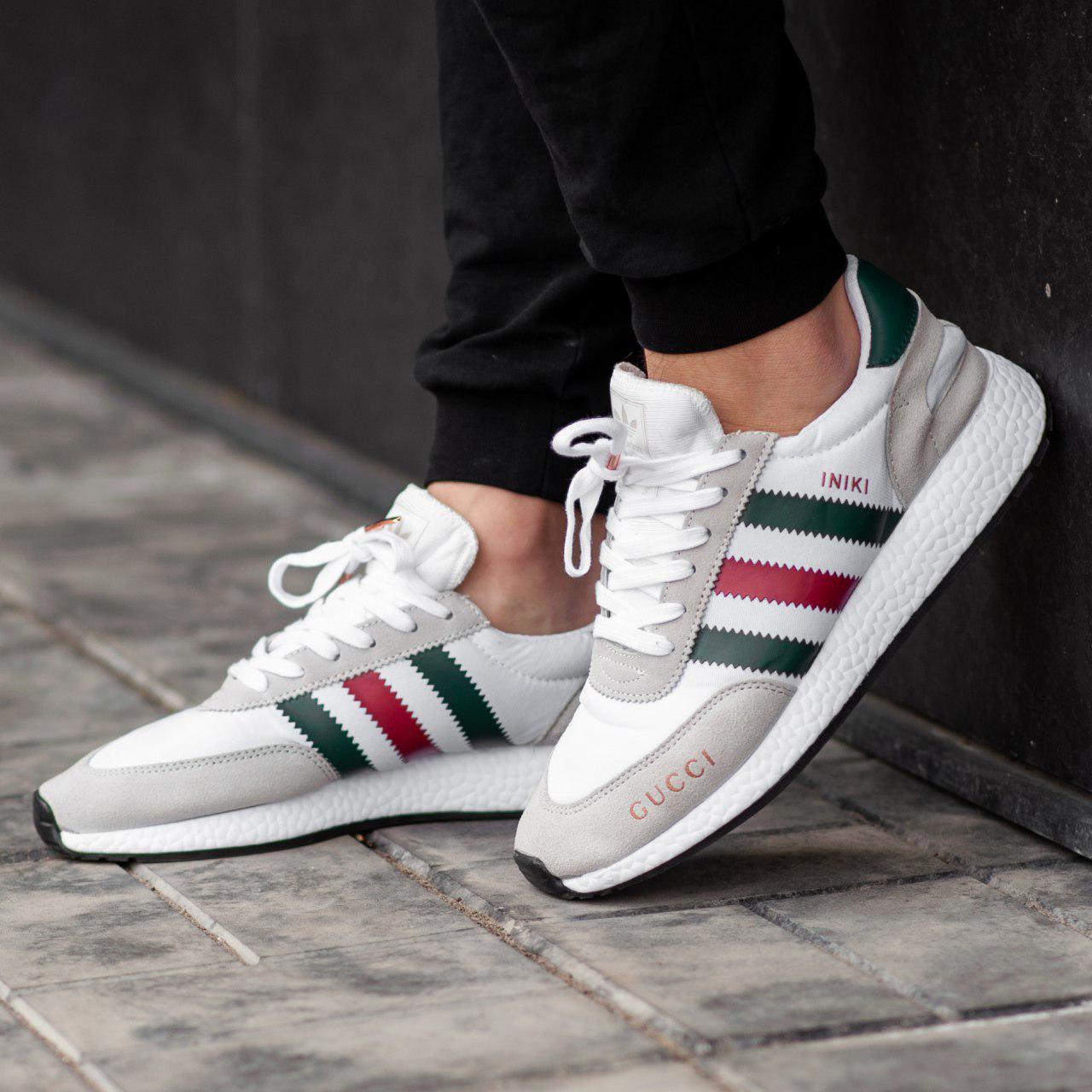 53521f331 Мужские кроссовки Adidas Iniki x Gucci White (Реплика ААА+) - Магазин  брендовой обуви