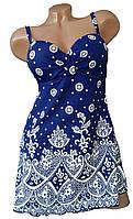 Женский купальник танкини большие размеры Верона(54,562)сине-белый 56р