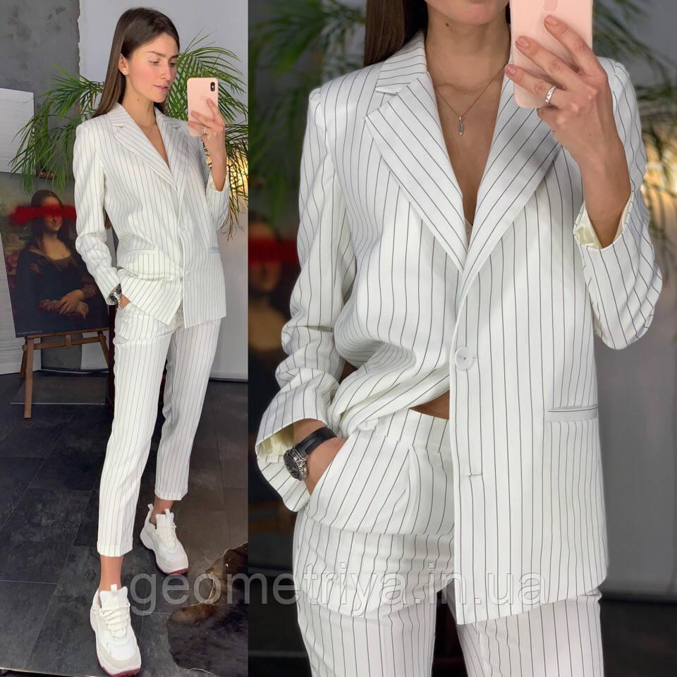 72d01a653a2 Новинка!!!! Деловой женский брючный костюм с пиджаком белого цвета ...