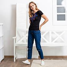 Черная женская футболка с вышивкой Узор синий, фото 3