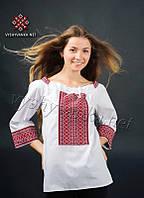Украинская сорочка-вышиванка прямого фасона с тканой нашивкой (0052), фото 1