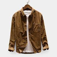 de697ebf1d41075 Мужской случайный вельвет Loose Pocket Дизайн Рубашка с длинным рукавом с отложным  воротником 1TopShop