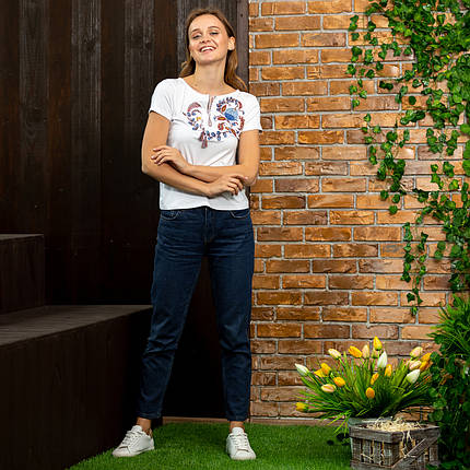 Женская футболка с вышивкой Петриковская роспись, фото 2