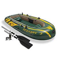 68380 Лодка трехместная с набором 295*137*43см, Надувная лодка для троих, Лодка с надувным дном