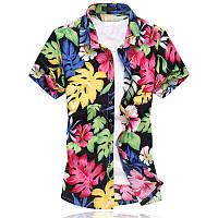 ac390368cb2 Mens Big Size Цветочная печать Гавайский стиль Пляжный Вскользь летние рубашки  1TopShop