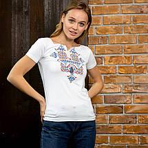Белая футболка вышиванка Узор синий, фото 3
